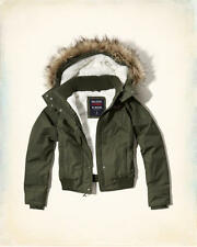 Abercrombie & Fitch Hollister All Weather Sherpa Bomber Jacket XS Olive NWT