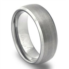 Tungsten Ring - Tungsten Wedding Band - Mens Ring - Silver Bevels - Brushed LWR