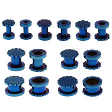 1 Pair Screw Ear Tunnels Ear Expander Stretch Plugs Piercing Gauge Blue
