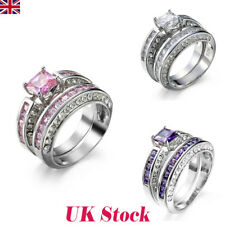 UK Women 925 Sterling Silver Zircon Crystal Wedding Jewelry Ring Engagement Gift