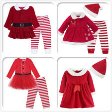 Christmas Baby Girls Santa Elf Costume Outfits Pants Dress Tops Clothes Set Kids