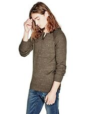 Guess Sweater Men's Long Sleeve Raglan 100% Cotton Pullover Top M Brown NWT