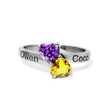 Personalized Sterling Silver Birthstones Name Rings Mother's Gifts Birthday Gift