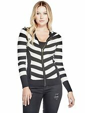 GUESS Sweater Women's Logo Zip Slim Fit Knit Hoodie Jacket S Black/Off White NWT