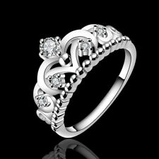 Silver Plated Rings Jewelry Princess Finger Band Present Crown Top Ring Sz 7 8
