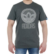 adidas Originals Circle Trefoil Men's Sports Grey Tee Short Sleeve T-Shirt