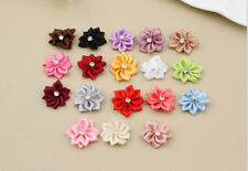Crystal 50PCS HOT DIY Appliques Craft/Trim with Satin NEW Flower Ribbon Bead