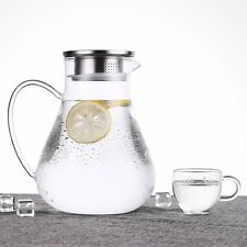 Glass Carafe Stainless Steel Lid Modern Chic Tea Juice Wine Water Pitcher 64oz