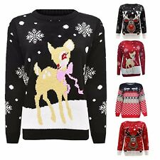Womens Mens Christmas Jumper Novelty Retro Unisex Xmas Reindeer Rudolph Jumpers