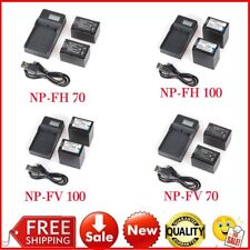 2X NP-FH70/NP-FH100/NP-FV70/NP-FV100 Battery + LCD Charger For Sony Camera LOT M
