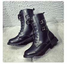 Fashion Women Cowboy Combat Mid Lace Up Shoes Ankle High Flat Heel Military Boot