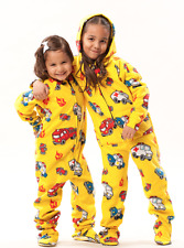 Kids Yellow & Red Fire Trucks Print Polar Fleece Unisex Footed Hoodie Pajamas