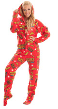 Unisex Wonder Woman Soft Red Adult Sized Footed Hoodie Holiday Christmas Pajamas