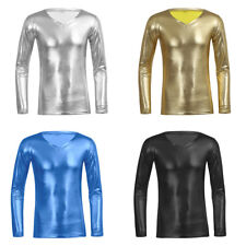 Fashion Mens Soft T-Shirt V Neck Long Sleeves Faux Leather Tee Tops Clubwear