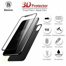 For iPhone X Genuine 3D 9H Front + Back Film Tempered Glass Screen Protector
