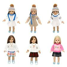Lovely Knit Winter Sweater Dress Scarf & Hat For 18'' American Girl Doll Clothes