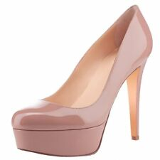 Women High Heels Nude Patent Wedding Round Toe Platform Pumps Stilettos