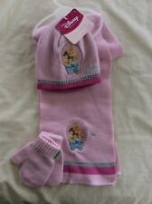 BNWT Disney Princess Pink Hat Scarf and Mitten Set Age 2 - 3 or 3 - 4 years