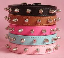 """New PU Leather Spiked Studded Dog Collars Puppy Small Dog Pet Collars 8-18"""""""
