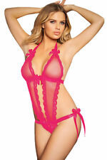 Women Sexy Bow and Satin Halter Teddy  Lace Teddy Lingerie Vixen Deep Plunge