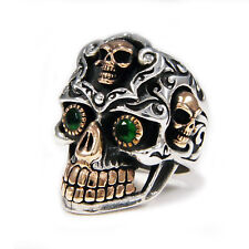 GREEN EYES GRAVEYARD SUGAR SKULL 925 STERLING SILVER GOTHIC BIKER RING jo-r019