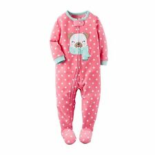 Carters Toddler Girls One-Piece Footed Microfleece Sleeper - Pink Dot Pug