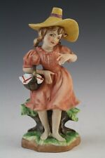Vintage Signed Bisque Porcelain Country Girl W Basket Hand Painted Figurine