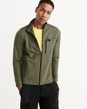 Abercrombie & Fitch Men's Quilted Sport Track Jacket w- Mock Neck M Olive NWT