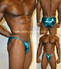 HOTACTIVEWEAR4ALL MENS BODYBUILDING POSING SUIT SPANDEX AQUA SHINY METALLIC