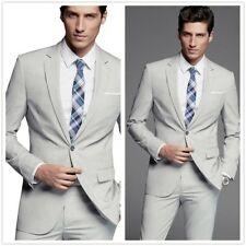 3 Piece Gray Men Fashion Wedding Suits One Button Slim Fit Groom Tuxedos Custom