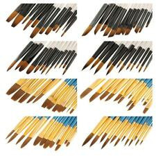 12pc Artist Paint Brushes Wood Handle Nylon Hiar Acrylic Watercolor Oil Painting