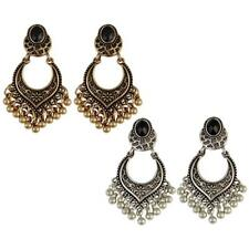 1 Pair Women Jhumka Gold/Silver Plated Charm Tassel Drop Dangle Earrings