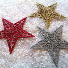 Large Glitter Star Christmas Tree Hanging Decorations Silver Gold Red Bauble 1-6