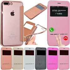 Luxury PU Leather Case Flip Window View Smart Touch Cover For iPhone/Samsung