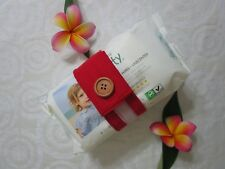 Nappy strap-Keeps nappies and wipes together-red-100% cotton or polycotton.