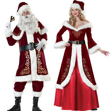 Mrs Claus Costume Santa Suit Outfit Christmas Fancy Mr Adult Cosplay Xmas Dress