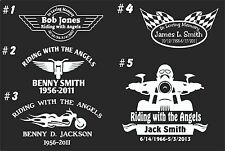 IN LOVING MEMORY CAR WINDOW DECAL..BIKERS...RIDING WITH THE ANGELS #11