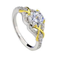 Sterling Silver Two-Tone Round CZ XOX Women Jewelry Wedding Engagement Ring