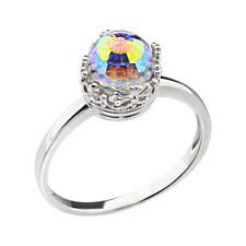 Sterling Silver Multi-Colored Crystal Solitaire Women Wedding Engagement Ring