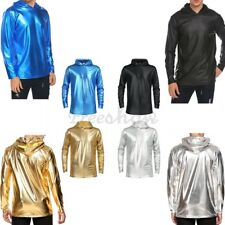 Mens Sexy Muscle Shirt Long Sleeve Slim Patent Leather T-Shirt Tee Tops Clubwear