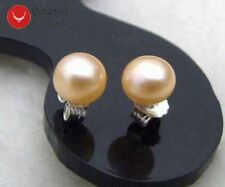 SALE small 6-7mm Natural Pink Freshwater Flat Round Pearl stud Earring-ear282