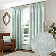 Ready Made Delicate Floral Embroidered Pencil Pleat Curtains in Duck Egg Blue