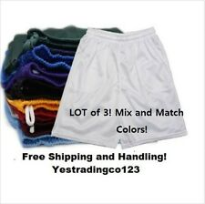 3 LOT Men's Mesh Jersey Athletic Fitness Workout Colors Shorts with Pockets