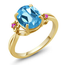 2.74 Ct Oval Swiss Blue Topaz Pink Sapphire 18K Yellow Gold Plated Silver Ring