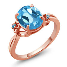 2.74 Ct Oval Swiss Blue Topaz 14K Rose Gold Ring