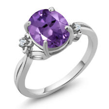 2.23 Ct Oval Purple Amethyst 925 Sterling Silver Ring