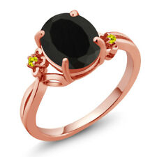 2.53 Ct Oval Black Onyx Canary Diamond 18K Rose Gold Plated Silver Ring