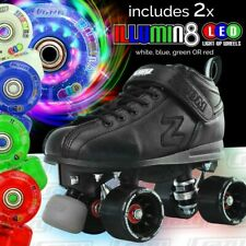 Zoom Speed Skate Quad Roller Skates with 2 LED Colour wheels & PINK RETRO BAG!