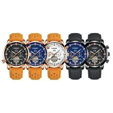 Mens Automatic Mechanical Watch Analog Leather Band Date Wrist Watch Waterproof