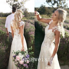 Ivory/White Wedding Dresses Lace Elegant Bride Gowns Sleeveless Custom Size New